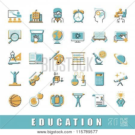Collection od educational icons. Back to school. Flat line icons related to school and education, distance learning, creative process, science, art and sport