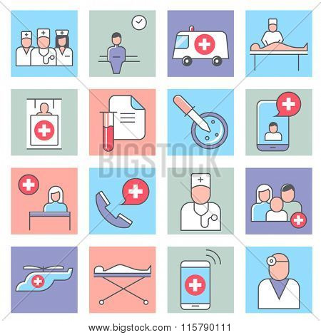 Medical and health care icons, thin line flat design