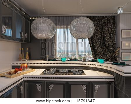 3D Illustration Of A Kitchen In Style Of An Art Deco.