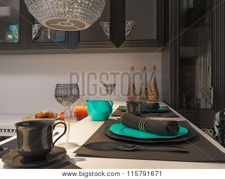 3D Illustration Of A Kitchen In Style Of An Art Deco. Postcard