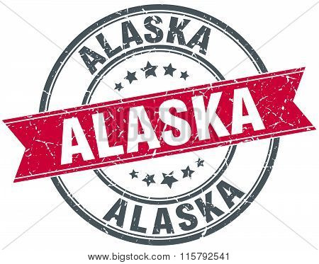 Alaska red round grunge vintage ribbon stamp