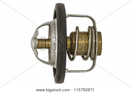 Thermostat A Cooling System, Spare Parts For Cars, Isolated On White Background