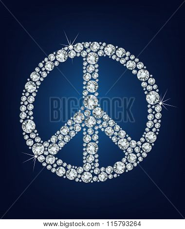 Vector illustration Peace sign made up a lot of diamonds