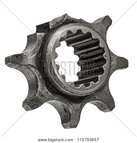 Damaged Cogwheel Close-up, Ruined Gear, Isolated On White Background