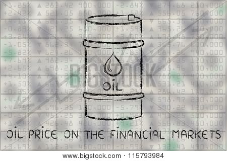 Barrel On Stock Exchange, With Text Oil Price On The Financial Markets