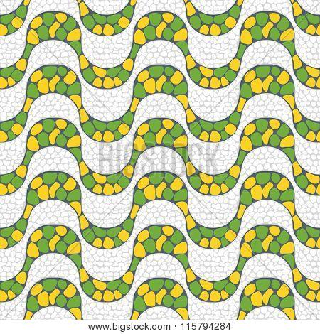 Yellow and green seamless pattern of Copacabana beach sidewalk mosaic, Rio de Janeiro, Brazil.