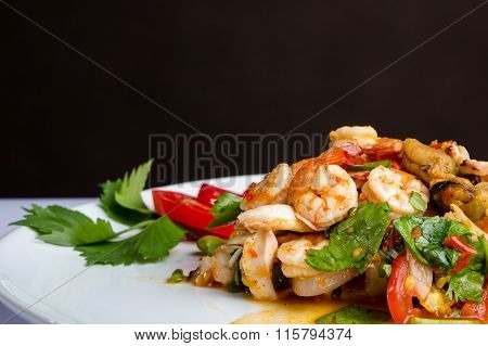 Spicy Shrimp, Mussel, Squid Salad Hot And Sour. Thai Food.
