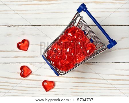 Shopping Card With Red Hearts