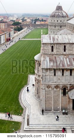 Pisa Dome Square And Cathedral Top View