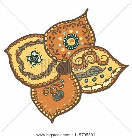 Stylized vector flower with ethnic patten