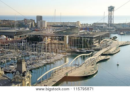 Barcelona, Catalonia, Spain - December 12, 2011: View Of Rambla De Mar Bridge In Barcelona, Spain