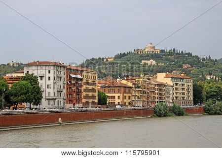 Verona, Italy - September 03, 2012: Buildings In Verona Along The River Adige