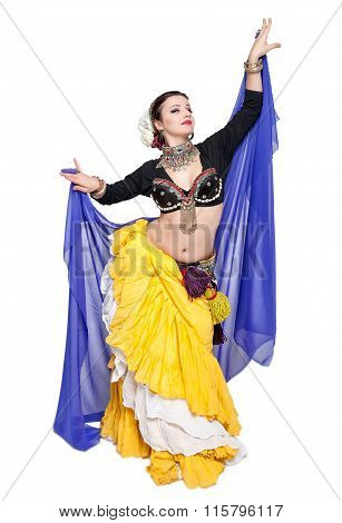 Beautiful Exotic Belly Tribal Dancer With Blue Scarf Woman