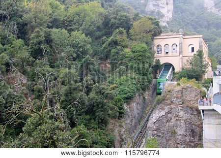 Montserrat, Spain - August 28, 2012: Funicular De La Santa Cova At  The Benedictine Abbey Santa Mari