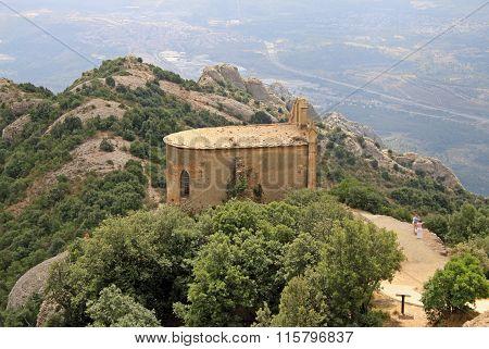 Montserrat, Spain - August 28, 2012: Saint Joan Hermitage In Montserrat Mountain, Spain. Benedictine