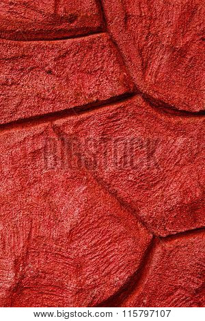 Imaginative Red Stone / Concrete Background Texture, With Curvy Patterns.