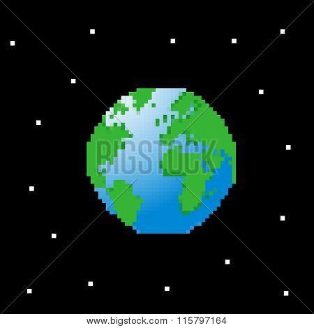 Planet Earth. Pixel Art