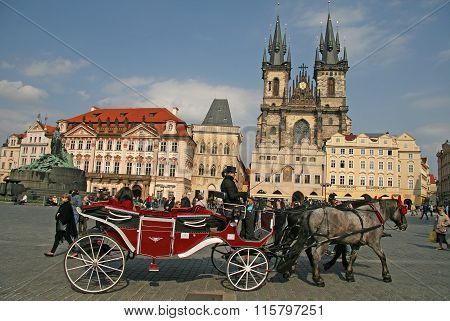 Prague, Czech Republic - April 16, 2010: Horse Carriage Waiting For Tourists At The Old Square In Pr