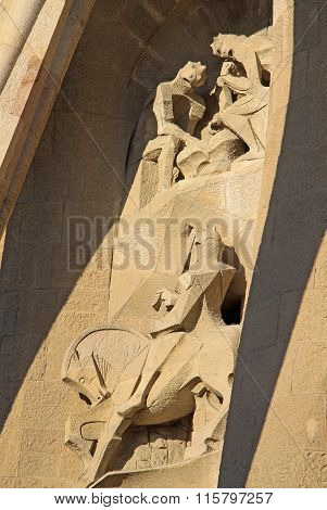 Barcelona, Catalonia, Spain - December 12, 2011: Passion Facade Of Sagrada Familia Temple, Barcelona