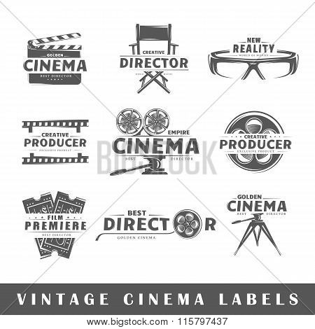 Set Of Vintage Cinema Labels