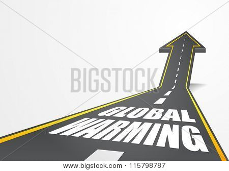 detailed illustration of a highway road going up as an arrow with Global Warming text, eps10 vector