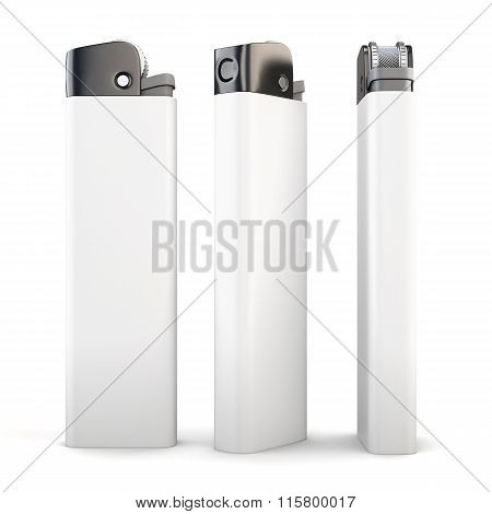 Lighter in three angles on a white background. 3d rendering.
