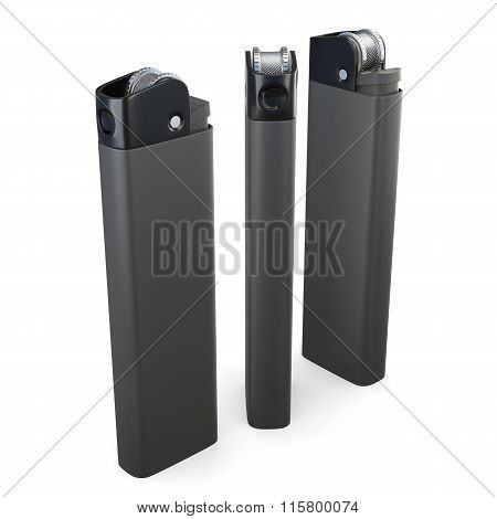 Set of lighters on a white background. 3d rendering.