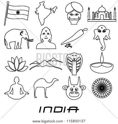 India Country Outline Theme Symbols Set Eps10
