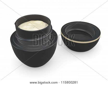 Open container with cream on a white background. 3d rendering.