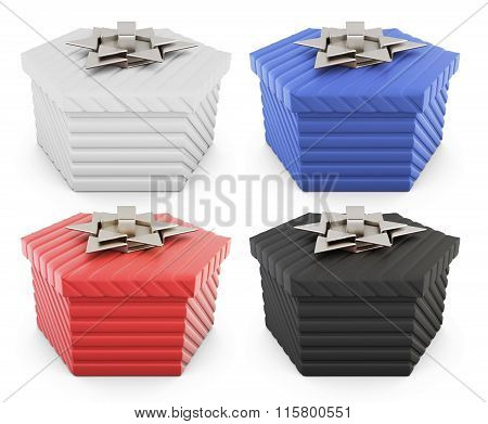Set of gift boxes isolated on white background. 3d rendering.