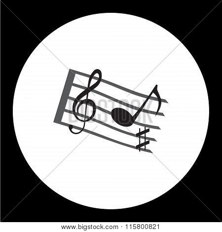 Music Stave With Music Notes And Treble Clef Simple Icon Eps10