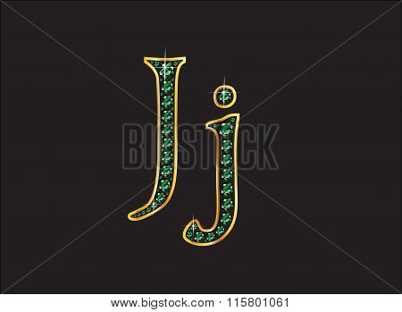 Jj In Emerald Jeweled Font With Gold Channels