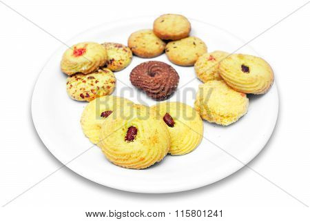 Biscuits in plate isolated on white background