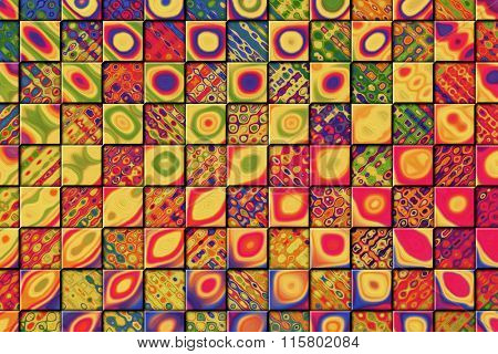 A Colorful Abstract Paint Textured Background with Checkered Squares