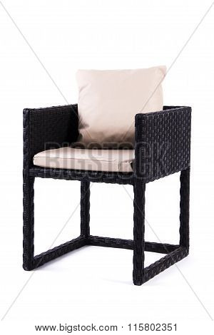 black chair and pillow
