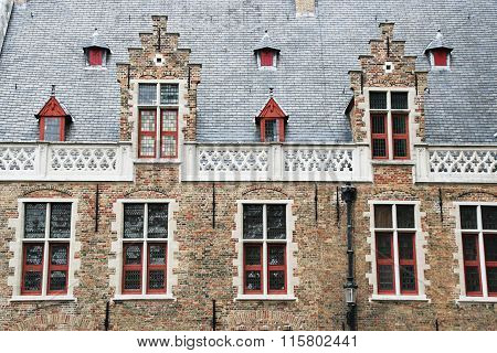 Facade Of Flemish Houses In Brugge