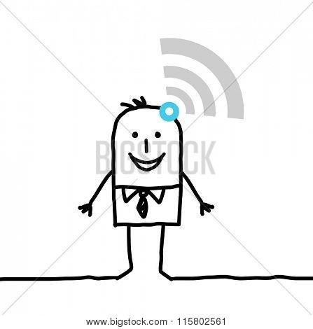 cartoon connected businessman