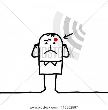 cartoon man suffering from electrosensitivity