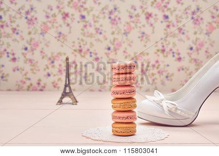 Fashion High Heels, Eiffel Tower On Wood. Macarons