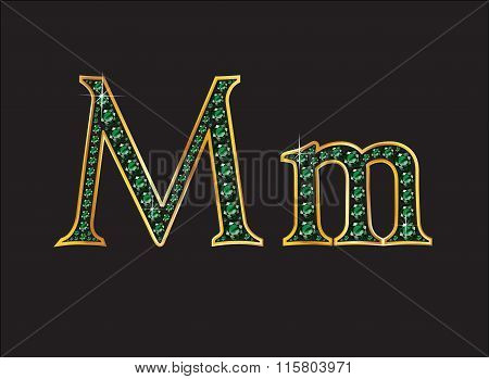Mm In Emerald Jeweled Font With Gold Channels