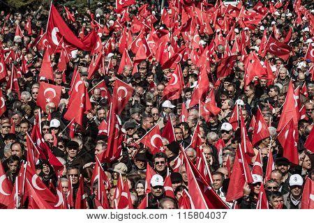 Crowd In Anitkabir, Mausoleum Of Mustafa Kemal Ataturk, The Founder Of The Republic Of Turkey