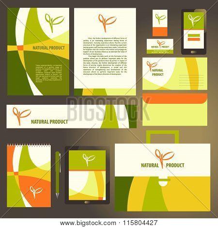 Corporate identity template set. Natural  product vegan. Busines