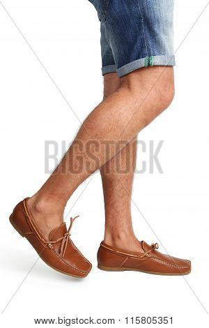 Fashion Leather And Brown Moccasins Shoes On White Background