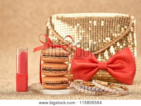 Macarons. Luxury Shiny  Handbag Gold, Bow.vintage