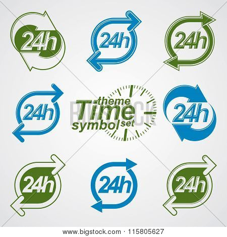Graphic Web Vector 24 Hours Timer, Around-the-clock Flat Pictograms Collection. Day-and-night Interf