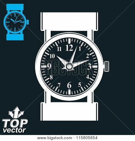 Vector White Wristwatch Illustration Isolated On Dark Background, Detailed Strap Watch, Invert Versi
