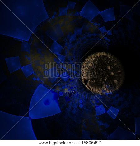 Abstract composition with circular checkered pattern