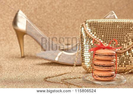 Macarons.luxury Shiny Shoes,handbag Gold.vintage