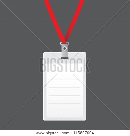 Blank vector vertical badge holder with bright light lace. Isolated on grey background. Vector.