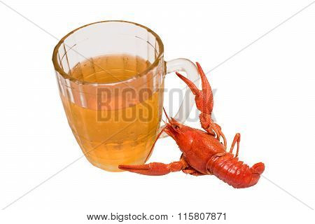 Photo Of The Boiled Crayfish With A Beer Glass